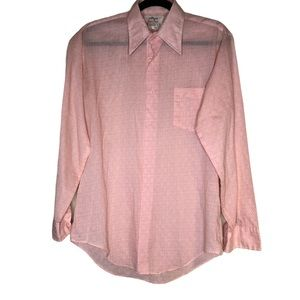 Vintage men's button up pink and peach